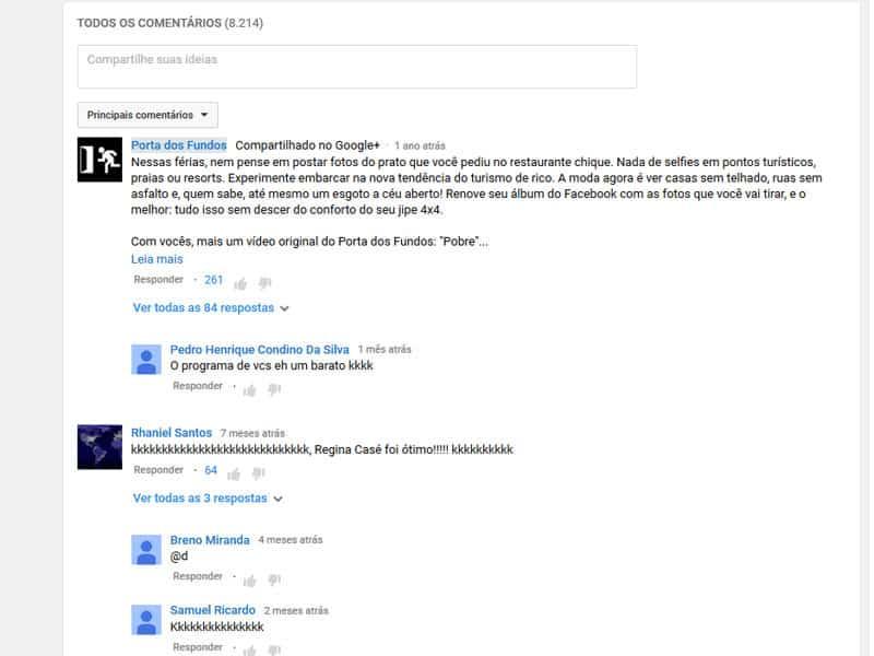 Comentário no Youtube