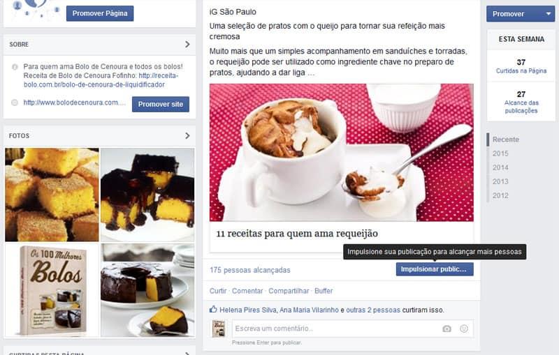 Impulsionar publicação Facebook