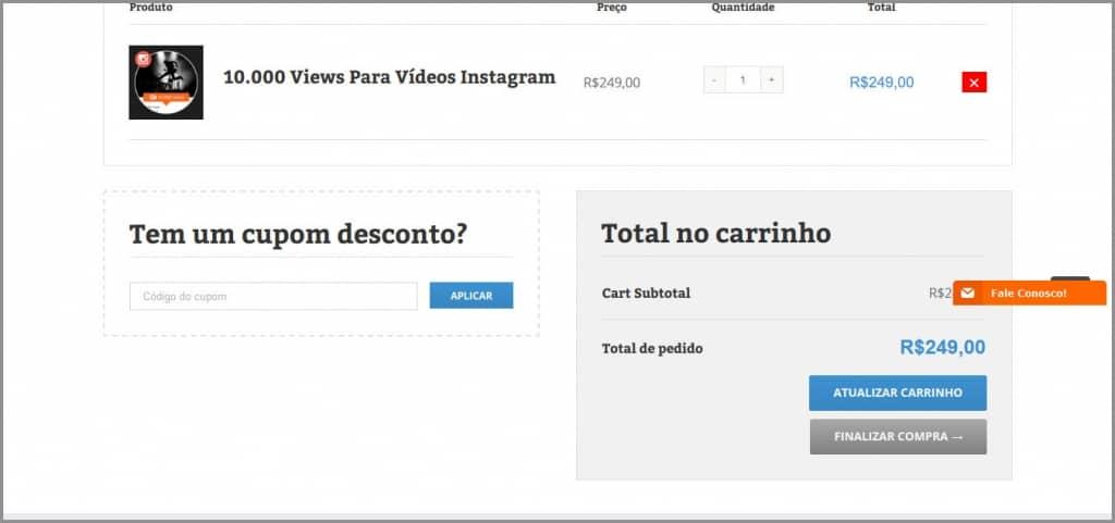 Finalizar Compra Visualizacoes Instagram